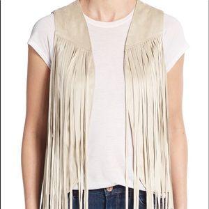Red Saks Fifth Avenue Fringe Vest